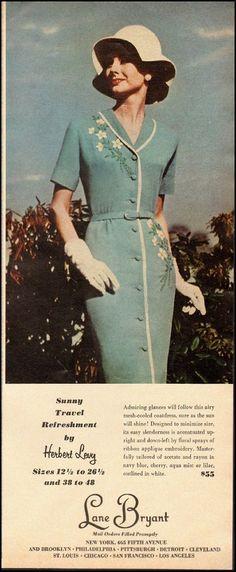 1966 Vintage ad for LANE BRYANT clothing`60's Fashion/Blue dress (061214)   eBay