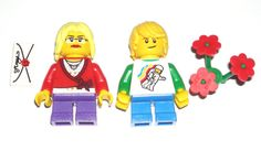 LEGO City Boy/Girl Minifigures Blonde Hair Space/Red Shirts Flowers/Love Letter #LEGO Lego City, Lego Custom Minifigures, City Boy, Lego Group, Flower Shirt, Lego Building, Red Shirt, Love Letters, Tweety