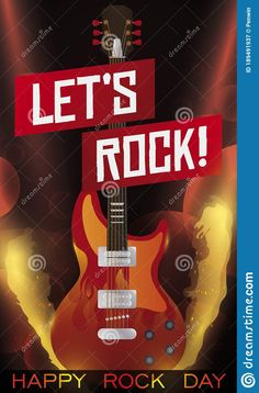 Fiery stage with flamethrowers, electric guitar lights and ribbons ready for an amazing and happy concert, during Rock Day celebration. Rock Concert, Rock N Roll, Ribbons, Celebration, Stage, Electric, Label, Guitar, Lights
