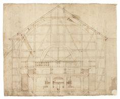 Byggnadsritning på vattenkvarn, 1600-tal.