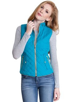 Quilted Padded Zipper Vest J1409EM, clothing, clothes, womens clothing, jeans, tops, womens dress