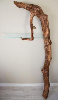 "Driftwood Shelf --- Length 33"" - Width 11"" - Height 82"" - by Craig Kimm Custom Woodwork:"