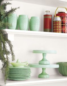 Pretty vintage green hobnail glassware and cute thermos collection.