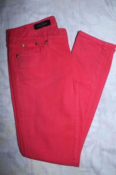 J Crew  Pants 25 Pink Coral Toothpick Cropped Denim Capris #JCrew #SlimSkinny