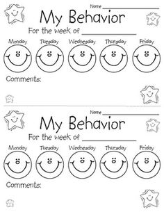 WEEKLY BEHAVIOR CHART {EDITABLE & FREE