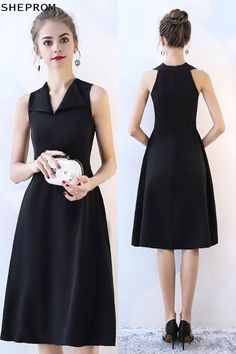 Sale Black V-neck Simple Party Dress Knee Length at SheProm. is an online store with thousands of dress… Black Wedding Dresses, Formal Dresses For Women, Dresses For Teens, Modest Dresses, Simple Dresses, Short Dresses, Simple Black Dress, Wedding Black, Simple Party Dress