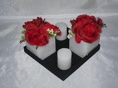 Art. 140. base con fanal 8x8, rosas rojas y velas