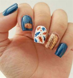 Classy Nail Designs, Fall Nail Art Designs, Short Nail Designs, Acrylic Nail Designs, Navy Blue Nail Designs, Navy Nail Art, Gel Polish Designs, Fall Designs, Fall Gel Nails