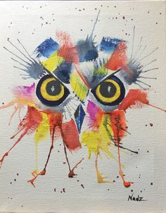Watercolor, owl, big eyes, color splash