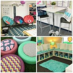 elementary classroom decor Flexible seating has become all the rage in elementary school classrooms. Rather than confining kids to traditional tables and chairs, teachers are Classroom Layout, New Classroom, Classroom Design, Classroom Decor, Classroom Libraries, Elementary Classroom Themes, Classroom Organization, Classroom Reading Nook, School Counselor Organization