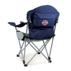 Outdoor Picnic Time Detroit Pistons Reclining Camp Chair, Blue (Navy)