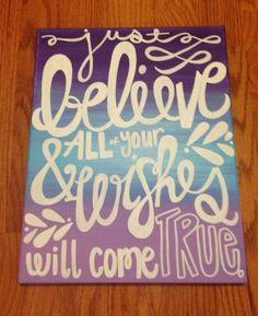 Believe Ombré Canvas Quote Painting