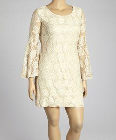 Beige Lace Bell-Sleeve Dress - Plus #zulily #zulilyfinds