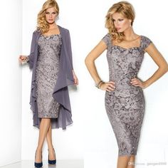 Vintage Gray Lace Sheath Mother of Bride Dresses with Jacket Long sleeve Formal Evening Bridal Party Gowns Cheap 2015 Arabic Free Shipping