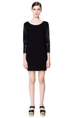 Zara Dress with Faux Leather Sleeves in Black