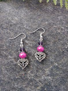 Silver Heart Earrings, Butterfly Earrings, Pink Earrings, Purple Earrings, Drop Earrings, Dangle Earrings by PurpleMoonJewelryCA on Etsy