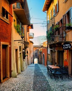 Beautiful colors street in Malcesine - Italy Tag a travel Buddy
