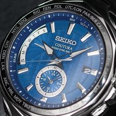 The Coutura Radio Sync Solar SSG019 boasts a bold blue dial featuring a day calendar, dual time function, and date window so you stay synced in #SeikoStyle. #KelleyJewelers #DowntownWeatherfordOK