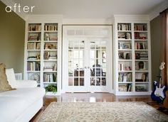 Library nook idea. Bookshelves on each side of the French doors.   Love the molding and that they reach the ceiling.