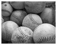 "Vintage Baseballs - SALE -  Black and White 8 x 10"" Fine Art Photo - READY To SHIP - Teen Boy"