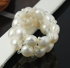 Pearl Rings, with Elastic Cord and Seedbeads