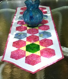 Quilted Table Runner Hexagons Flower Batik by MaryMackMadeMine, $67.00