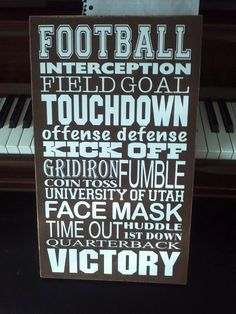 "Football Subway Art 11.5"" x 20"" Vinyl Lettering"