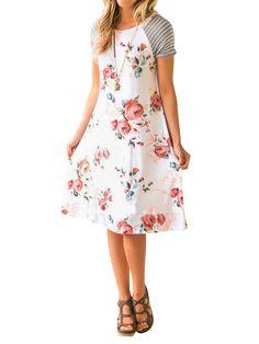 4ed8922c147 Nlife - Nlife Women Striped Sleeve Floral Print A-line T-shirt Dress -  Walmart.com