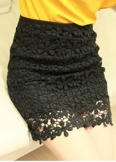 Falda crochet flor-Negro EUR€18.79