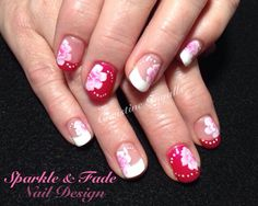 Entity Gel Polish - Pink and white with hand painted one stroke flowers - Done by Christine Ingalls of Sparkle and Fade Nail Design  https://www.facebook.com/SparkleAndFadeNailDesign