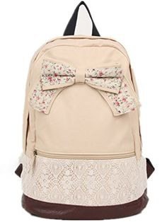 Sealike New Top Trendy Cute Korean Lace Backpack College Style Leisure Canvas Backpack Gilr's Lovely Bow Rucksack Vintage Floral Print School Bag Retro Sweet Fashionable Outdoor Backpack for Teens Students Women Ladies Girls Milk White Sealike http://smile.amazon.com/dp/B00M80Z654/ref=cm_sw_r_pi_dp_8dVnvb0VRF0YZ
