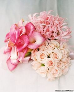 """See the """"Bouquets for Bridesmaids: A Profusion of Pinks"""" in our 50 Great Wedding Bouquets  gallery. Cute idea to do a different bouquet for each bridesmaid?"""