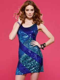 Scoop Neck Short Length Dark Royal Blue Sequined Cocktail Party Dress