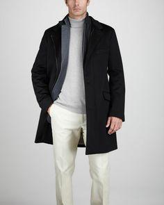 Martingala Storm System Coat, Lisbon Cashmere Sport Coat & Cashmere Turtleneck Sweater by Loro Piana at Neiman Marcus.