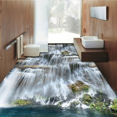 Free Shipping Waterfalls stone 3D floor painting thickened non slip bathroom living room kitchen office study flooring mural-in Wallpapers from Home Improvement on Aliexpress.com | Alibaba Group