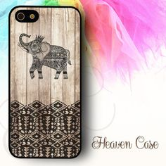 """""""Elephant Art Print on Wood"""" available For Iphone 4/4s/5/5s/5c case , Samsung Galaxy S3/S4/S5/S3 mini/S4 Mini/Note 2/Note 3 case , HTC One X and HTC One M7 case"""