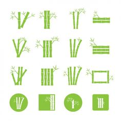 Green bamboo icons collection Free Vector