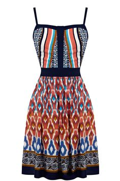 The Aztec print dress is constructed out of a lightweight fabric with a mixed aztec print throughout. This ethnic inspired design features a fitted bodice and has thick trim around the neckline hem   #DashForTheSun