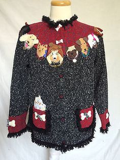 Design-Options-By-Philip-and-Jane-Gordon-XL-Cardigan-Dogs-Long-Sleeves-Womens