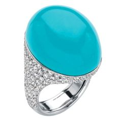 Chantecler of Capri Turquoise and Diamond Ring | From a unique collection of vintage cocktail rings at https://www.1stdibs.com/jewelry/rings/cocktail-rings/