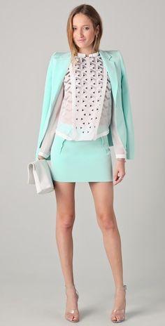 Dion Lee. Mint skirt and jacket set. Summer dress up