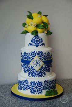 blue white china pattern on cake - Google Search