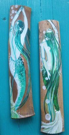 Save, Easy-Peasy!  .Pair of Original Art Hand Painted  Mermaids on Bamboo- Beach Decor Coastal Decor.
