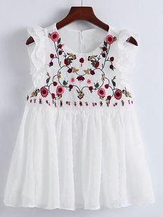 SheIn offers Flower Embroidery Pleated Hem Ruffle Trim Top & more to fit your fashionable needs. Shirt Embroidery, Flower Embroidery, Embroidery Blouses, Embroidery Online, Embroidery Ideas, Fashion Trends 2018, Ethnic Fashion, Fashion Women, Couture