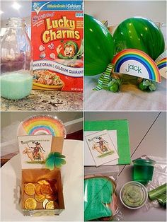 Leprechauns paid us a visit last night. They turned our milk their favorite shade of green, left us bags of green treats and made us green sack lunches ;)