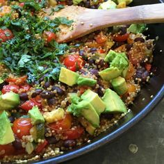 finished Mexican quinoa with avocado and cilantro added