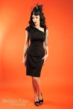 Black Ponte Peplum Lily black dress