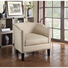 BestMasterFurniture Natural with Nailheads Barrel Arm Chair