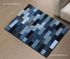 Striped patchwork carpet in re....