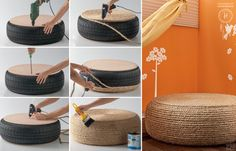 Creative Recycled Furniture Idea: Turn an Old Tire into a Rope Ottoman